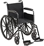 Drive Medical SSP118FA-SF Silver Sport 1 Wheelchair with Full Arms and Swing away Removable Footrest, Black