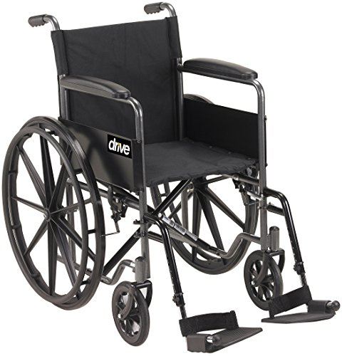 Drive Medical Silver Sport 1 Wheelchair with Full Arms and Swing Away Removable Footrest, Black