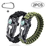 SHEEHAN 2pcs5 in 1 Compass Flint Bracelet Outdoor Escape Survival Whistle Survival Blade