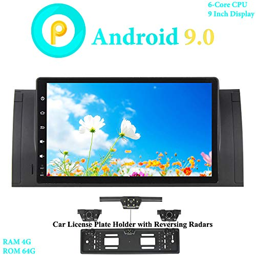 XISEDO 9' Android 9.0 Car Stereo 6-Core RAM 4G ROM 64G In-Dash Head Unit Car Radio GPS Navigation for BMW 5-E39/BMW X5-E53 (with UK/EU License Plate Frame)