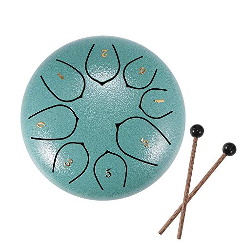 Steel Tongue Drum, Tambor de Sanación 6 pulgadas 8 tonos Instrumento de Tambor Colgante con Baquetas,Bolsa,Cubre-dedos, Libro de Tutorial, para el hogar Yoga Meditación Práctica Musical