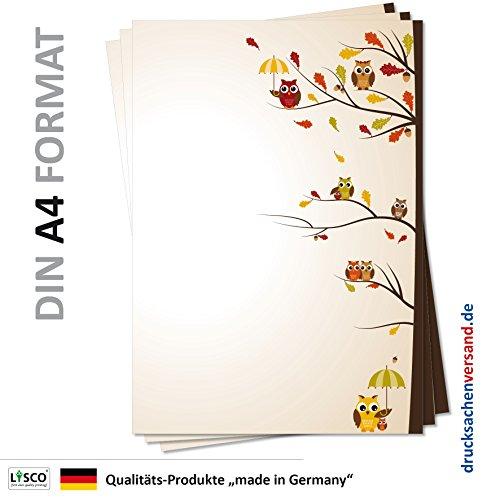 Motiv Briefpapier (Eulen-5139, DIN A4, 25 Blatt) Motivpapier Eulenpapier, gelbe braune Eulen mit Schirm im Winter sitzend auf Ästen auf einem Eichenbaum mit Herbstlaub