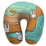 Almohada en Forma de U, Cuello, Conejo Blanco, Cascada, Viaje, Almohada Multifuncional, Coche, avión