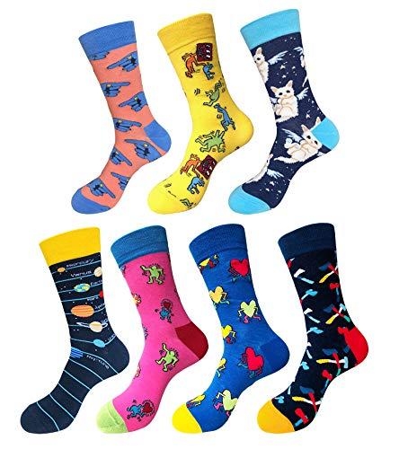 Abogel - Calcetines divertidos para hombre, calcetines coloridos de algodón para vestir, para hombre, talla 39 - 46
