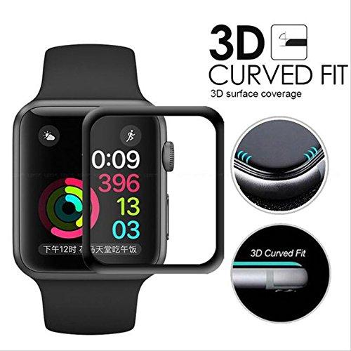 Copertura in vetro temperato per Apple Watch Serie 3, MaxiPRO 3D, ricurva, protezione da bordo a bordo in vetro temperato ultrasottile per Apple Watch serie 3 42mm e 38 mm (2018), nessuna perdita di sensibilità dello schermo