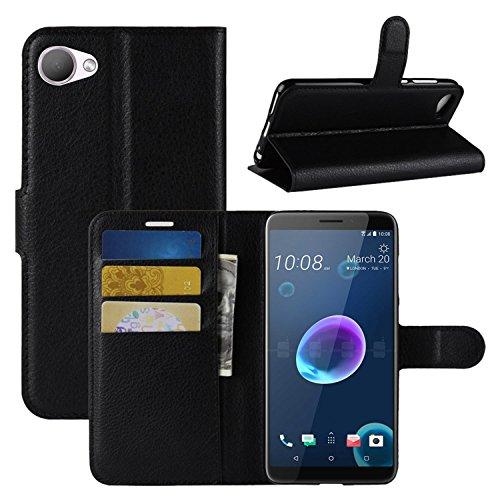 HualuBro HTC Desire 12 Hülle, Premium PU Leder Leather Wallet HandyHülle Tasche Schutzhülle Flip Hülle Cover mit Karten Slot für HTC Desire 12 Smartphone (Schwarz)
