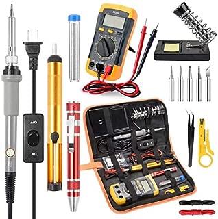 Soldering Iron Kit Electronics, Rarlight 60W Adjustable Temperature Welding Tool, Digital Multimeter, Soldering Iron Tips,Desoldering Pump,Screwdriver,Solder Wire,Tweezers,Stand,Wire Stripper Cutter