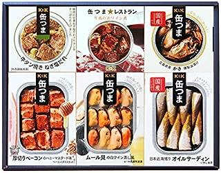缶つま 6種類詰め合わせギフトセット(KT1)(缶詰 おつまみ ムール貝 オイルサーディン かき ベーコン 牛肉 牛タン)