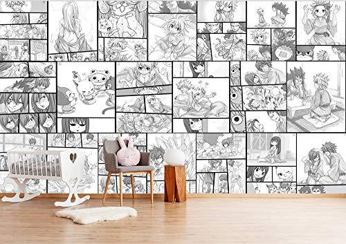 Blovsmile hand drawn cartoon black and white manga japanese style anime fairy tail Boy 'Room 3D Foto tapeten Wohnzimmer Raum Wallpaper Wandtapeten-200 * 150