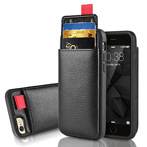 iPhone 6 Plus / 6s Plus Wallet Case, LAMEEKU Shockproof Leather case with Credit Card Holder Pockets ID Card Slot Holder, Protective Card Cover for Apple iPhone 6 Plus / 6S Plus 5.5 inch - Black