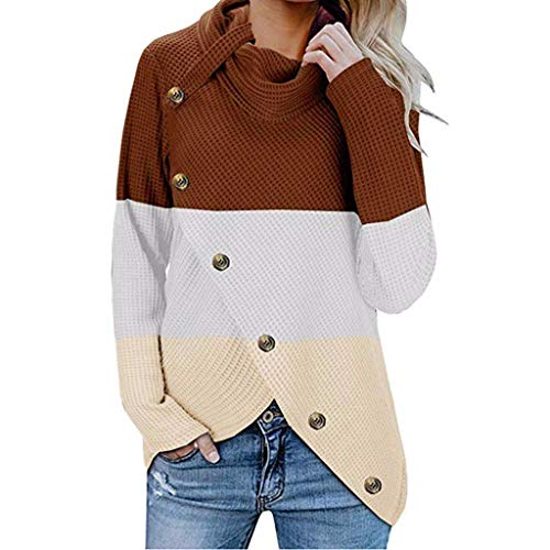 New jin&Co Women Pullover Sweater Solid Color Long Sleeve Blouse Fashion Button Casual Sweatshirts...