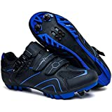 JINFAN Zapatillas De Ciclismo para Hombres Microfibras Reflectantes Zapatillas De Ciclismo MTB Terreno Duro Antideslizante Transpirable para Downhill Road BMX,Blue-45