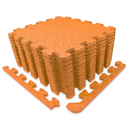 diMio Sport-Schutzmatten - Puzzlematten inkl. Randstücke in verschiedenen Farben - Schutzmatte/Unterlegmatte/Fitnessmatte/Bodenschutz Matte (Orange, 30x30cm (12 Stk. / 1,08qm))