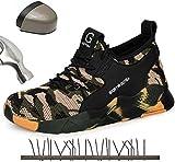 HOAPL Calzado con Punta de Acero para Hombre Zapatos de Seguridad para el Trabajo Camuflaje Calzado Transpirable Ligero Senderismo antipinchazos Calzado Deportivo Calzado de protección,45