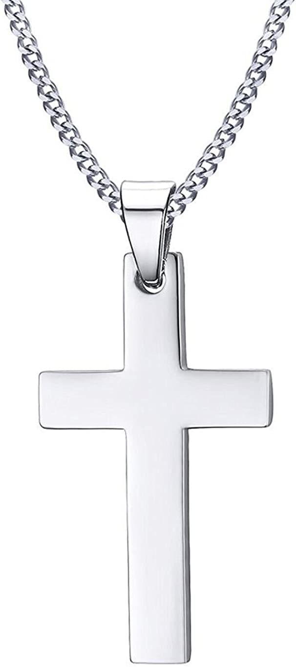 Stainless Steel Cross Pendant Chain Necklace for Men Women Jewelry Gift Necklaces