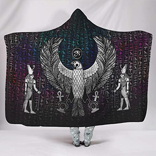 Vartanno Coperta con cappuccio Occhio di Horus in pile confortevole Occhio di Horus indossabile Coccolle Coperta per l'inverno bianco 152,4 x 203,2 cm