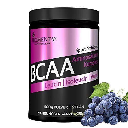 BIOMENTA BCAA Aminosäuren Komplex - 500g BCAA Pulver vegan - mit L-Leucin + L-Isoleucin + L-Valin 2:1:1