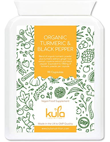 Kula Nutrition - Organic Turmeric and Black Pepper - 60 Capsules – High Strength Vegan Turmeric Health Food Supplement Tablets with Ginger, Cayenne Extract, Piperine 95% Extract, Zinc & Vitamin B6.