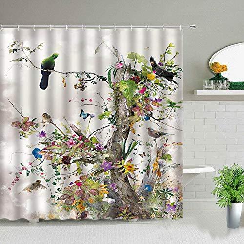 AIDEMEI Paysage forestier cerf Cygne Oiseau Motif imprimé Rideaux de Douche Fleur Plante Paysage Salle de Bain décor étanche Tissu Rideau Ensemble 180X180CM