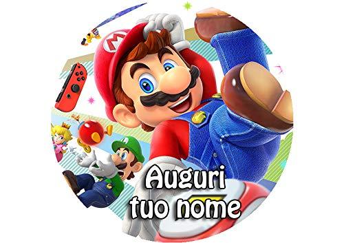 Partycolare Cialda per Torta Senza GLUTINE Tonda Diametro 20 cm - Super Mario Bros - mario003