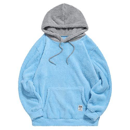ZAFUL Sudadera con capucha para hombre, con bloqueo de color, unisex, Sherpa, para conducir, suelta, mullida azul XXL