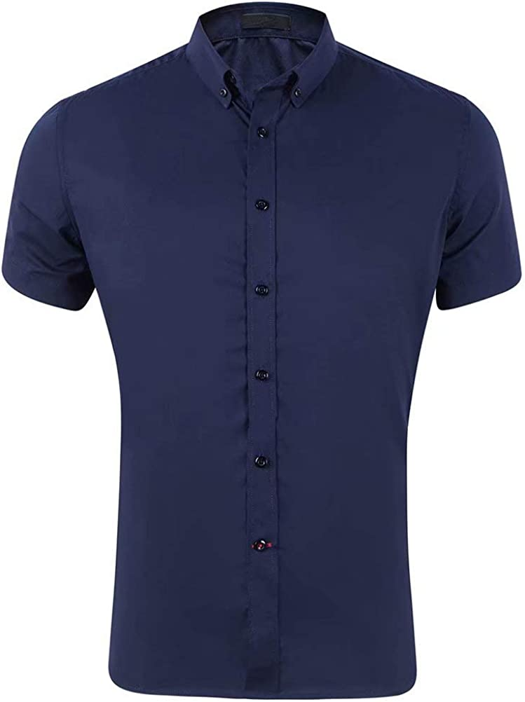 Wxian Men's Short-Sleeved Casual Solid Color Slim-Fit Shirts