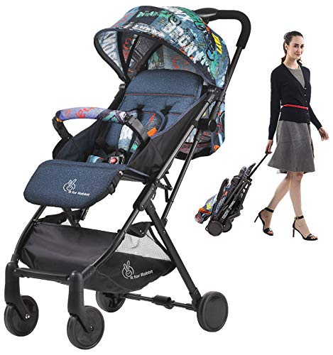 R for Rabbit Pocket Stroller Lite Portable Travel Friendly Pre Installed Baby Stroller and Pram for Baby|Kids|Infants|New Born|Boys|Girls of 0 to 3 Years(Grey)