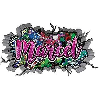 3d Wandtattoo Graffiti Wand Aufkleber Name Marvin Wanddurchbruch Sticker Selbstklebend Wandbild Wandsticker Jungenddeko Kinderzimmer 11u043 Wandbild Grosse F Ca 140cmx82cm Amazon De Kuche Haushalt