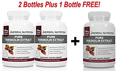 #1 Rated Pure Forskolin 250mg|180 Capsules 90 Day Supply|Two Bottle Pack|A 20% Extract Of Pure Coleus Forskohlii|Ideal Weight Loss & Athletes Formula|U.S. Mfd.|Free Shipping (2)