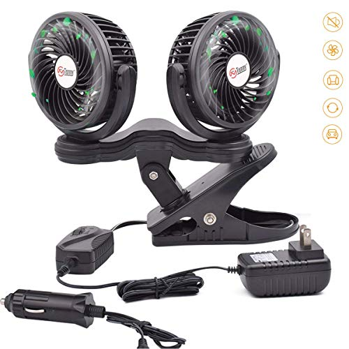 TN TONNY Dual Head Clip Fan, 4 Inches Electric Car Clip Fans 360° Rotatable,12V Cooling Air Fan with Stepless Speed Regulation for Vehicle or Home