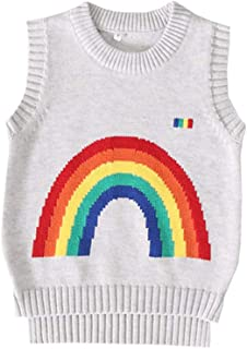 Fairy Baby Little Boy Girl Outfit Sweater Vest Rainbow School Uniform Knit Waistcoat