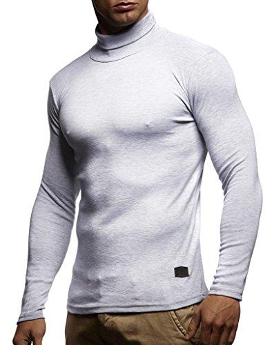 Leif Nelson Herren Rollkragenpullover Pullover Rollkragen Hoodie Slim Fit (Grau; Medium)