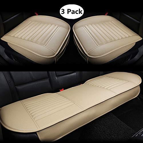 HONCENMAX Auto Sitzauflage Sitzkissen Universal Sitzauflagen Autositzbezüge - BambusKohle PU Leder - [Ohne Rückenlehne] 2+1 Vorder und Rücksitzbezüge