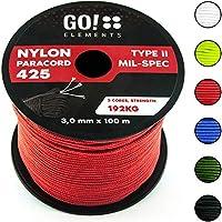 GO!elements 100m Cuerda Paracord de Nylon Resistente al desgarro - 3mm Paracord 425 Tipo II líneas como Cuerda para Exteriores, Cuerda para Todo Uso - línea de Nylon MAX. 192kg, Color:Rojo