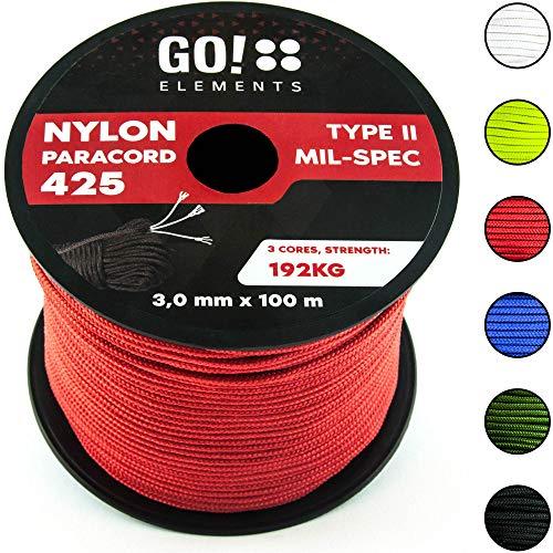 GO!elements 100m Cuerda Paracord de Nylon Resistente al desgarro - 3mm Paracord 425 Tipo II líneas como Cuerda para Exteriores, Cuerda para Todo Uso - línea de Nylon MAX. 192kg