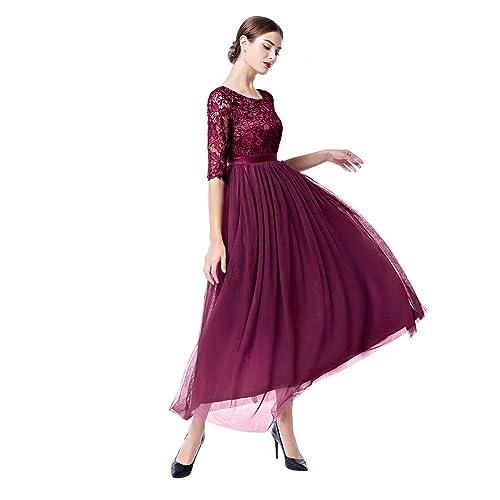 auf Füßen Aufnahmen von Rabatt bis zu 60% Discounter Abendkleider Lang mit Ärmeln Spitze: Amazon.de