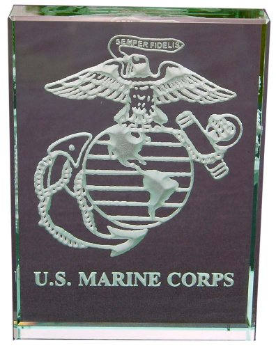 U.S. Marine Corps Insignia Hand Carved Etched Glass Paperweight