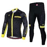 Asvert Maillot Pantalon Cyclisme Manches Longues Respirant Séchage Rapide Costumes pour Vélo VTT Unisexe (Montagne Jaune, L)