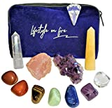 Lifestyle on Fire Healing Crystals & Chakra Stones Set - 11 Piece Set with Crystals and Healing Stones to Align Your Spirit and Remove Negative Energy - to Calm and Bring Prosperity