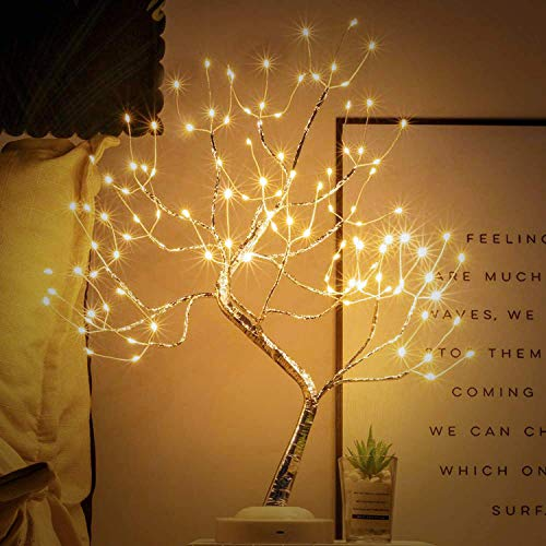 Tabletop Bonsai Tree Light 108 LED Copper Wire Tree Lamp Fairy Spirit Night Light,Battery/USB Operated,6h Timer Adjustable Branches Halloween Christmas for Home Decoration and Gift (Warm White)