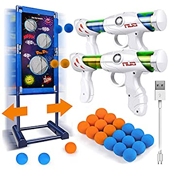 Kaufam Gun Toy Gift for Boys Age of 4 5 6 7 8 9 10 10+ Years Old Kids Girls for Birthday with Moving Shooting Target 2 Blaster Gun and 18 Foam Balls