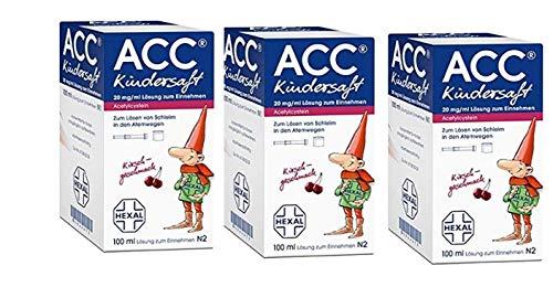ACC Kindersaft 20 mg / 3er Spar-Set:(3x100 ml Lösung) zum Einnehmen - Kirschgeschmack