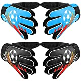 2 Pairs Goalkeeper Goalie Gloves Kid Football Soccer Gloves Non Slip Latex Goalkeeper Gloves with Protection Gloves Double Wrist Design for Boy and Girl Training (Green, Blue,Small)