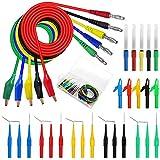 Kit de sonda trasera de 30 cables de prueba, sonda trasera de 4 mm y kit de pinzas de cocodrilo con cables de prueba de sonda trasera, pinzas de cocodrilo de 40 mm para pruebas con multímetro