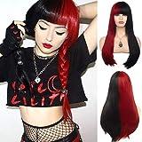 Pelucas Para Mujer Peluca De Pelo Lacio Largo Medio Rojo Y Negro Con Flequillo Cosplay Sintético Fiesta De Halloween 25,5 Pulgadas