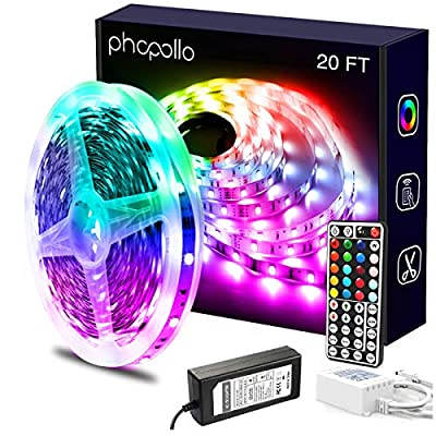 Phopollo Led Lights 20ft for Bedroom Color Changing 180 LEDs Luces Led para Decoracion RGB DIY Color Option with Power Supply and Remote