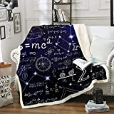 Mathematics Fleece Blanket, Science Throw Blanket for Kids Boys Girls, Math Equations Geometry Axis Art Plush Blanket Flannel Warm Home Throw Blankets, Xmas Gift, Comfy Thick Throw 50'x60'
