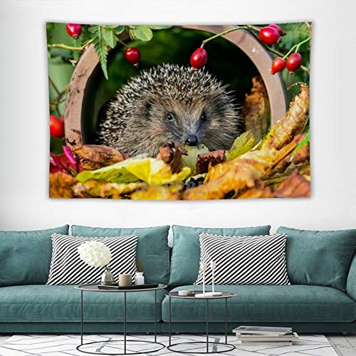 Tapestry Wall Hanging, Cute Hedgehog Garden Pet Animal Tapestries Wall Decor for Dorm Living Room Bedroom 150x100 cm