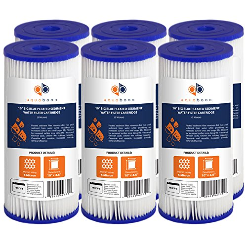 """Aquaboon 5 Micron 10"""" Big Blue Pleated Sediment Water Filter Replacement Cartridge   Whole House Sediment Filtration   Compatible with FXHSC, ECP5-BB, FM-BB-10-5, CP5-BBS, 255490-43, HDC3001, 6-Pack"""