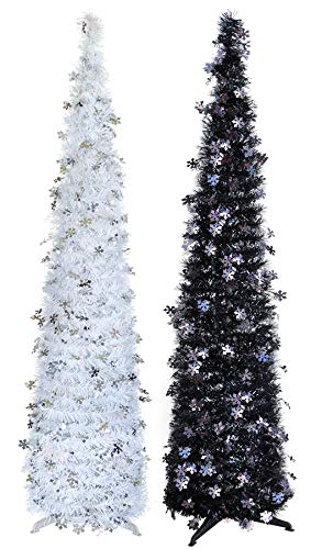 Pop Up Christmas Trees Tinsel Collapsible Portable Xmas Flake Tree Glitter Props Home Display 5ft 2PCS Artificial Trees with Rotating Christmas Stand